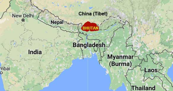 Location of Bhutan on the world map | Bhutan Acorn Tours and ...