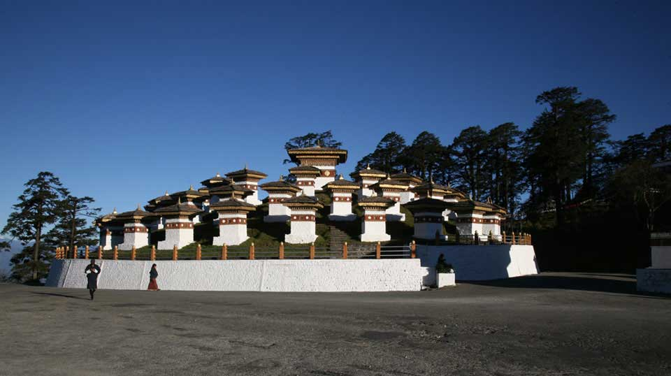 108 Stupas at Dochula Pass, 3,300m above sea level in Thimphu Bhutan