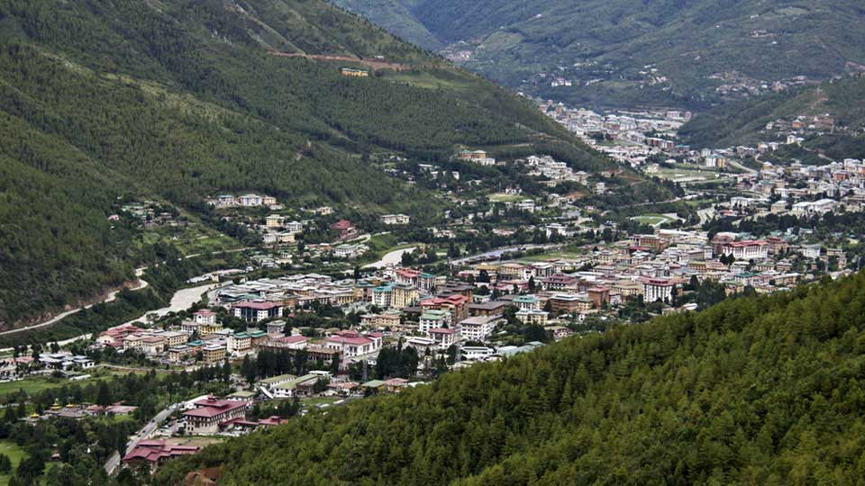 View of Thimphu city seen form Wangditse above Thimphu