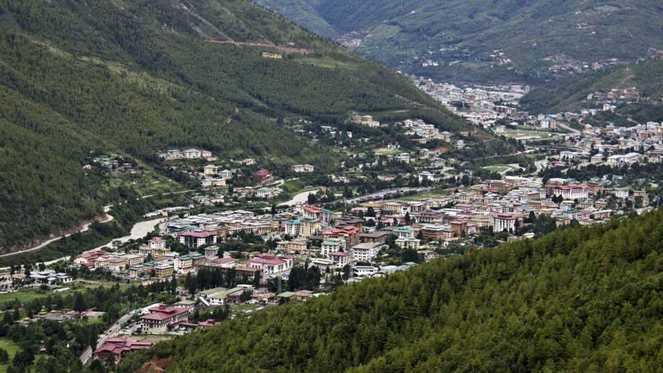 View of Thimphu city seen form Wangditse above Thimphu