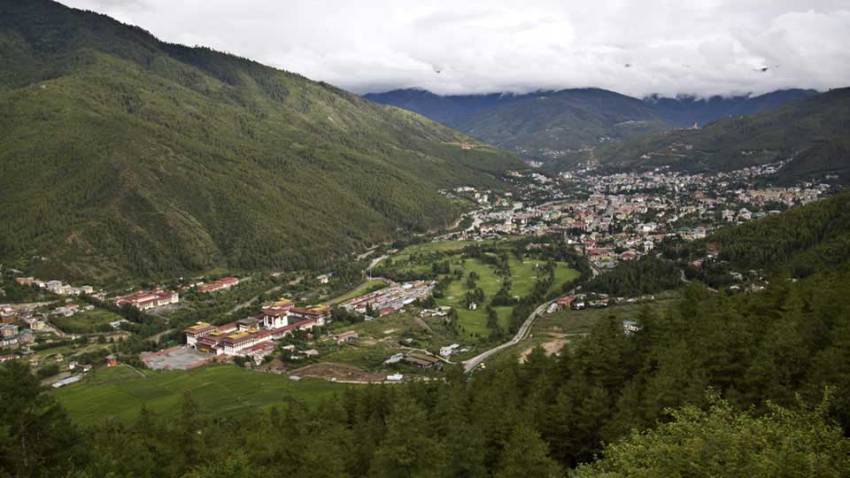 View of the Thimphu valley - the capital city of Bhutan