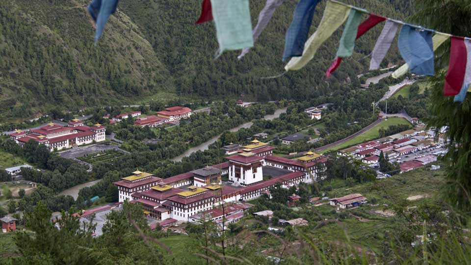View of Tashichhodzong from Wangditse, Thimphu, Bhutan
