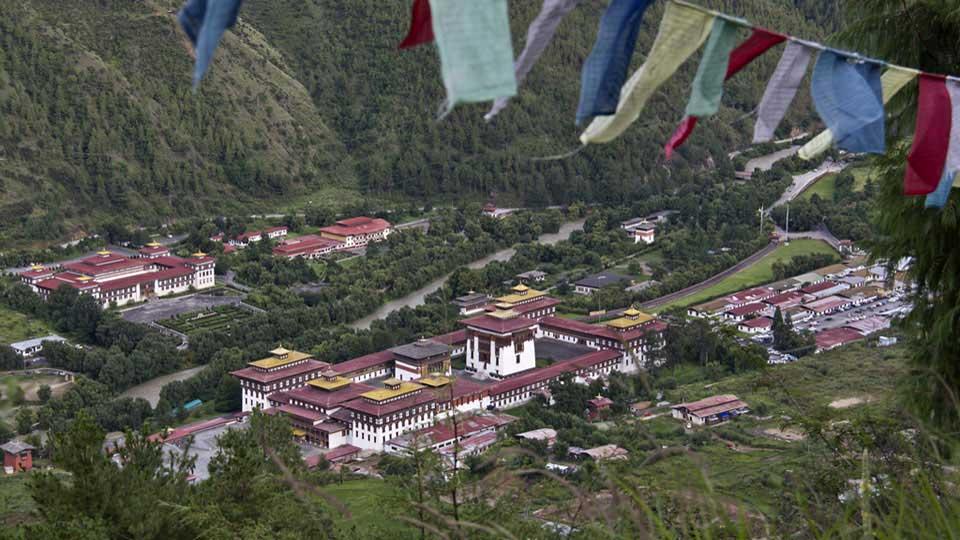 View of Tashichhodzong from Wangditse, Thimphu, Bhutan