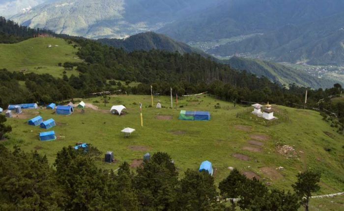 View of Bumdrak Campsite at 3,680 meters on a mountain meadow