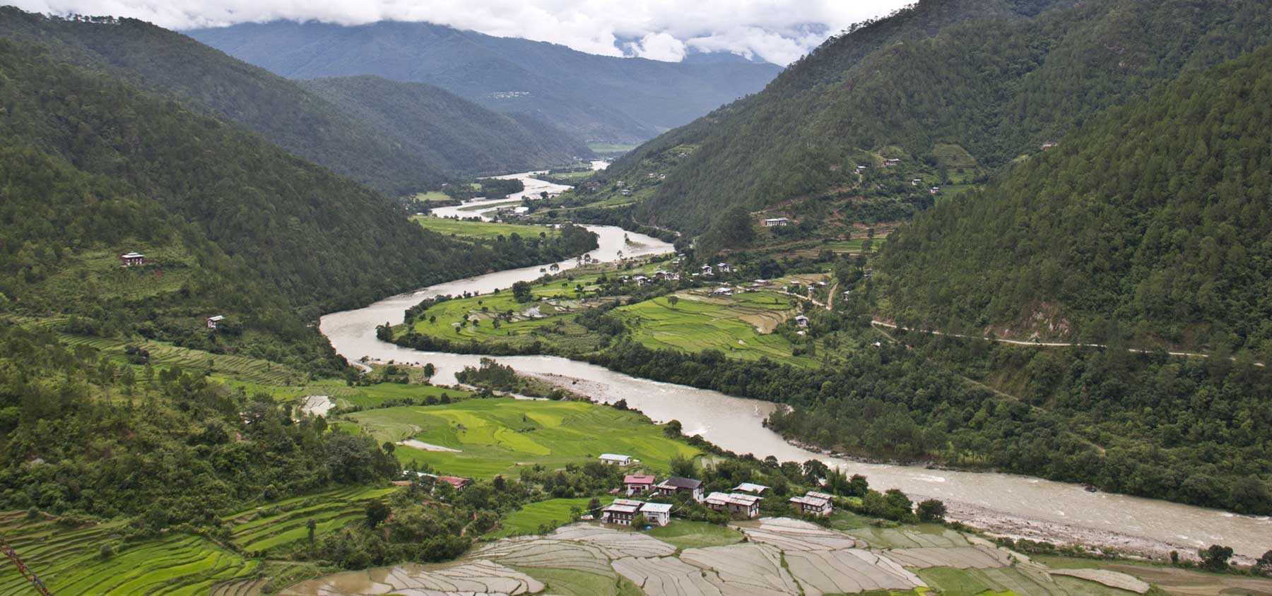 View of Punakha Valley from Khamsum Yuelay Namgyel Chorten, Punakha, Bhutan