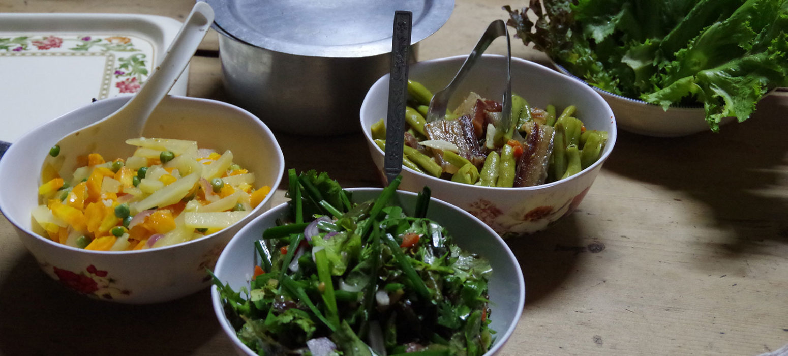 Home-cooked local cuisine of Bhutan