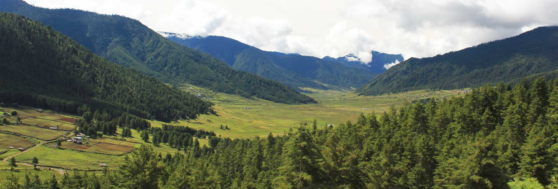 The glacial valley of Phobjikha, Central Bhutan.