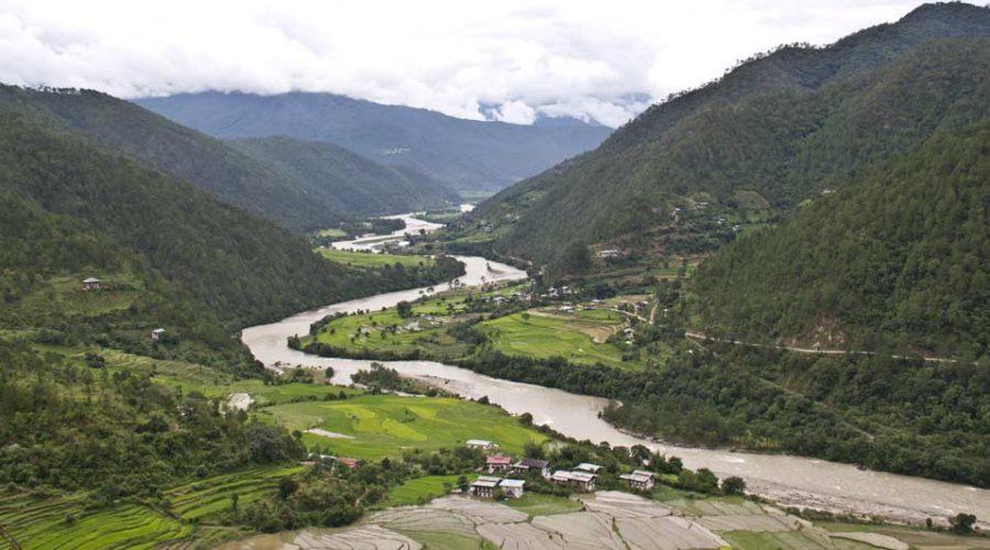 The view of Yoebisa village in Punakha Valley as seen from Khamsum Yuellay Namgyel Temple, Punakha, Western Bhutan