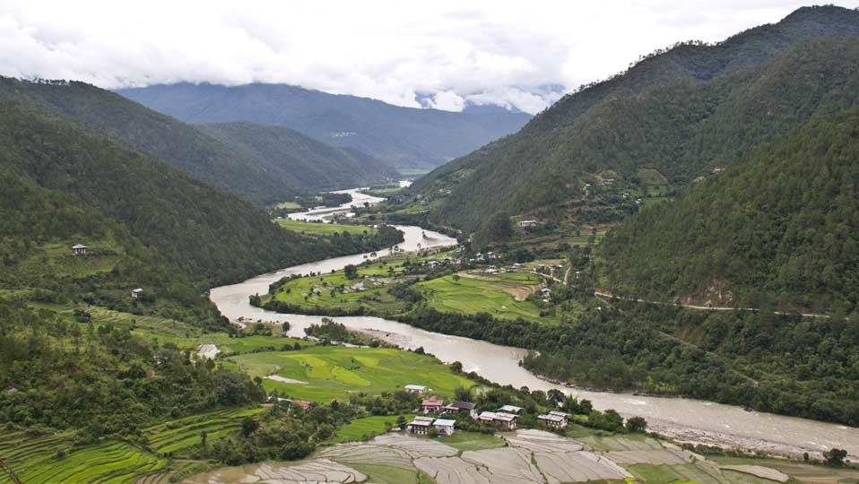 The view of Yoebisa village in Punakha Valley as seen from Khamsum Yuellay Namgyel Temple, Punakha, Western Bhutan