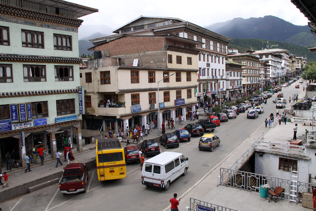 Heart of Thimphy, the capital city of Bhutan