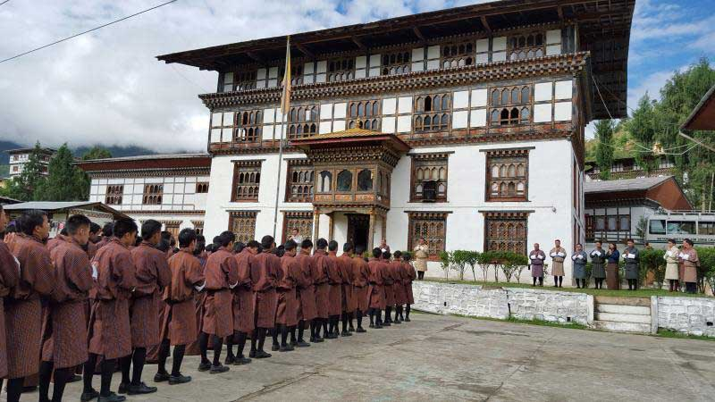 Students lined up for morning assembly at Thimphu Institute for Zorig Chusum