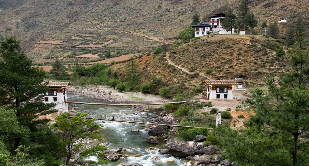 Tamchog Lhakhang Temple located across Paro river on the Paro-Thimphu Highway