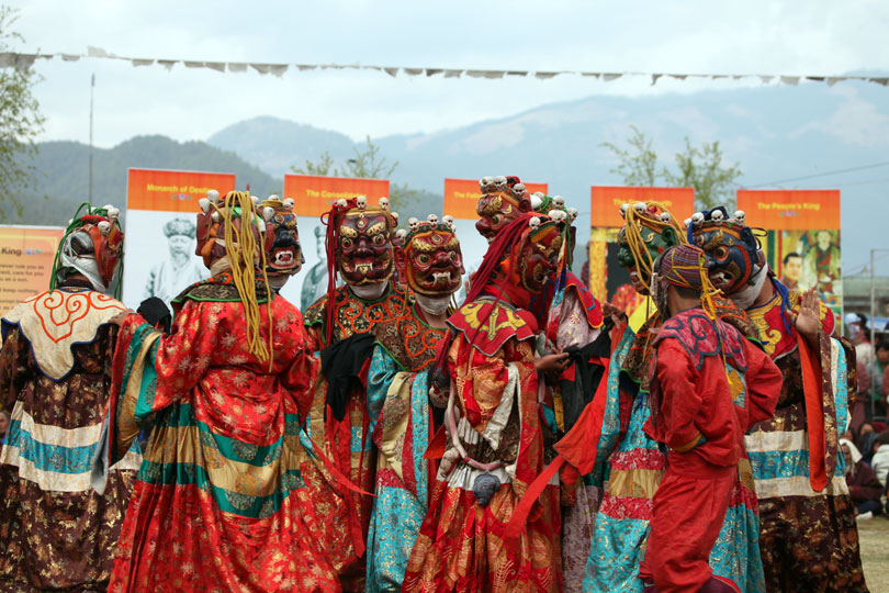 Mask Dancers during one of the annual Tshechu festivals.