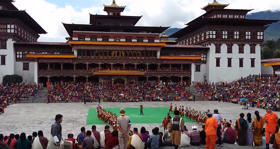 Traditional Folk dancers of Bhutan performing at one of the annual festivals.