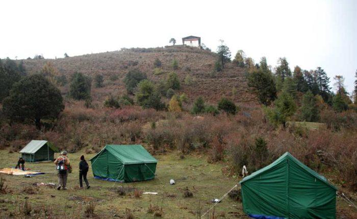 camp site 1 of Druk Path Trek at Jele Dzong, altitude 3,840m