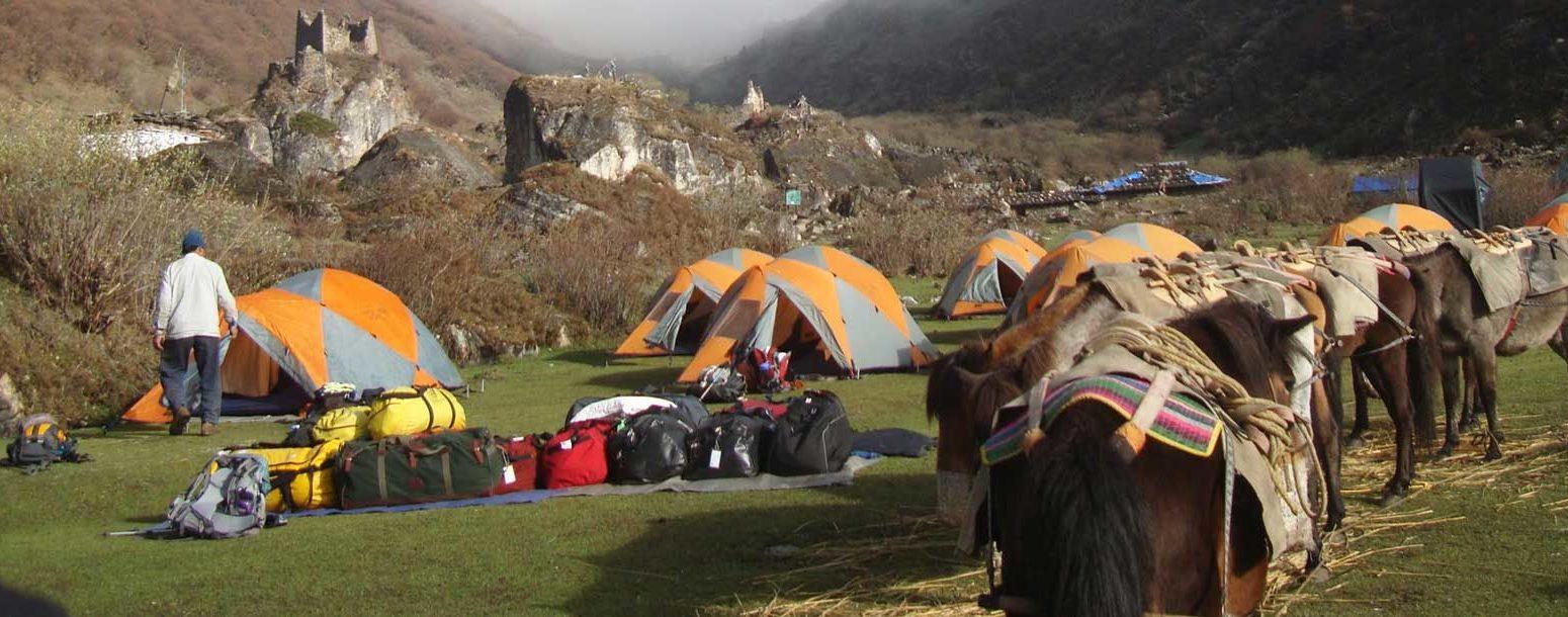 One of the campsite during Jomolhari Mountain Trekking, Bhutan.