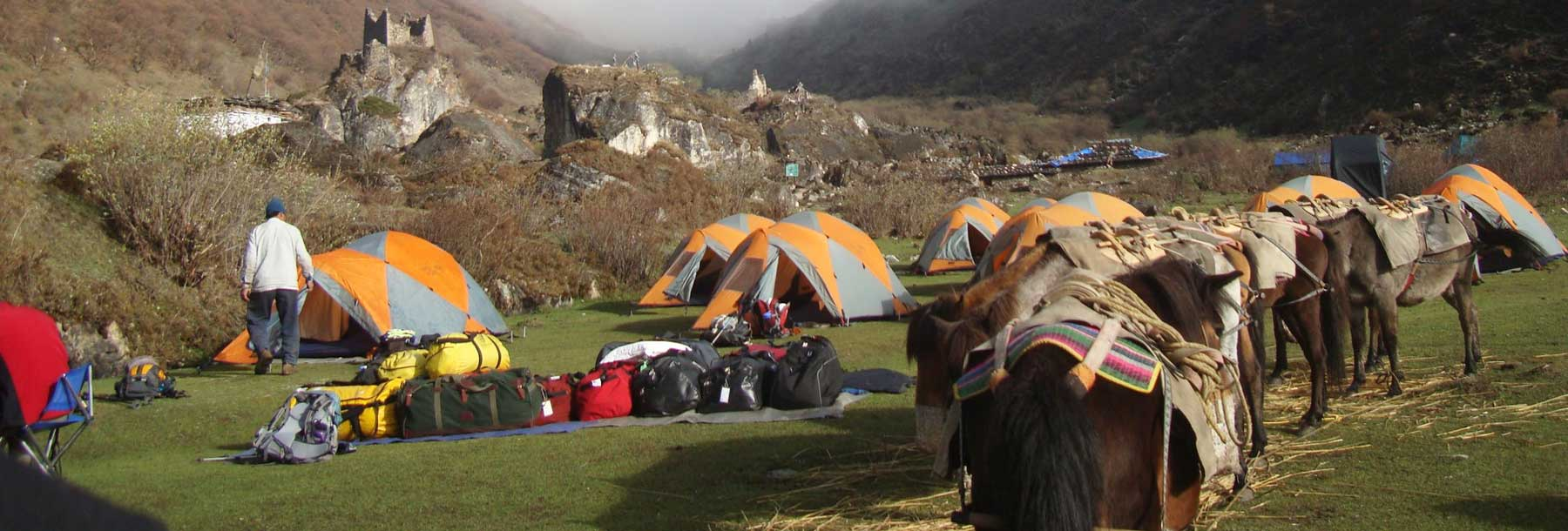 One of the campsite during Jomolhari Mountain Trekking, Bhutan.