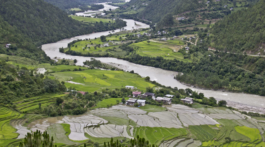 The village of Yoebisa in Punakha valley as seen from Khamsum Yuelley Namgyel Choeten.