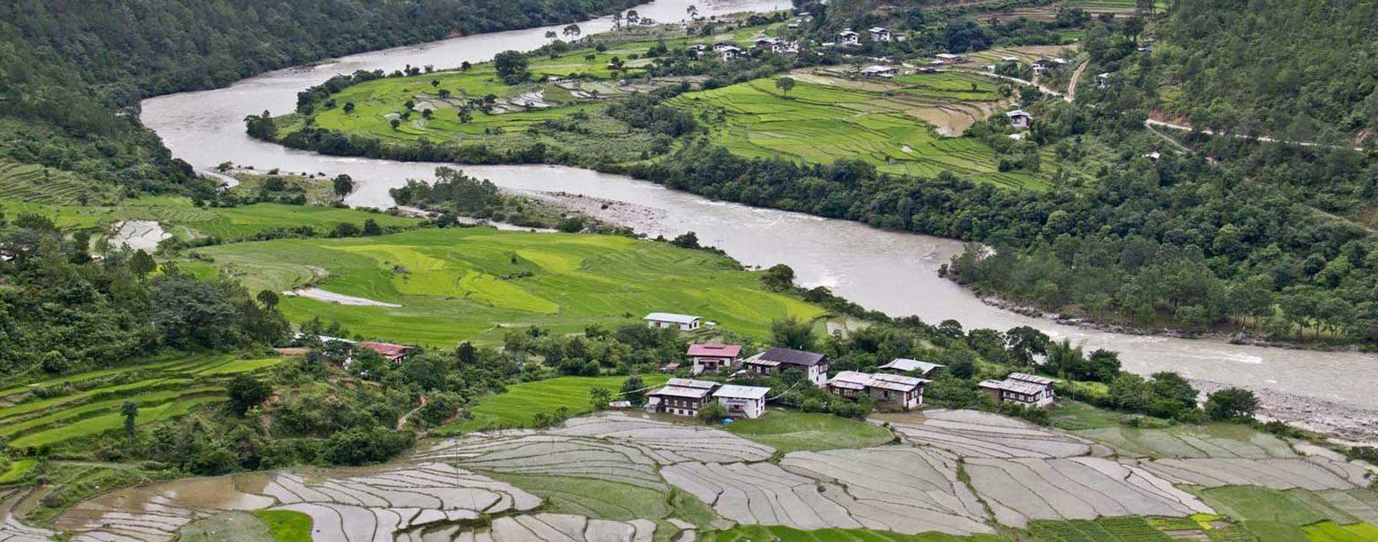 The Village of Yoebisa in Punakha Valley - on the way to Khamsum Yulley Namgyel Choeten.