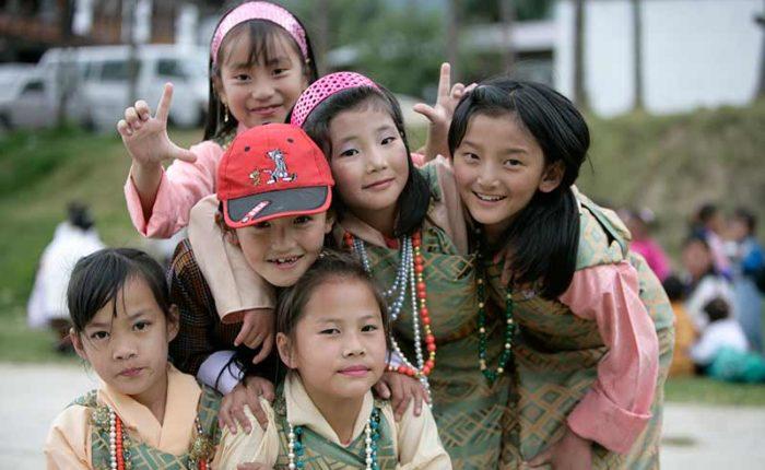 School children posing for photograph