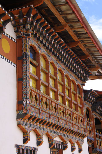 Traditional wooden window in Bhutan