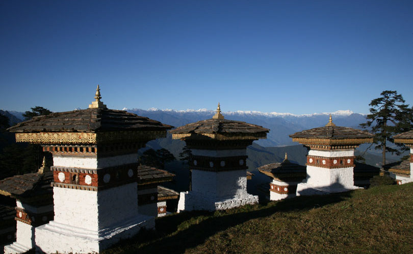 Dochu La Pass at an elevation of 3,150m/10,330ft. Bhutan Tour Operator