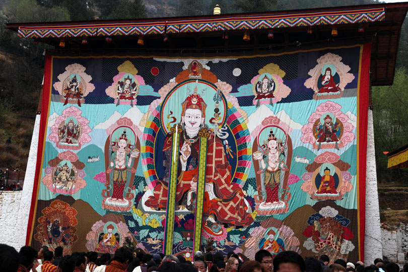 A large applique of Guru Padmasambhava displayed during Paro Tshechu Festival in Bhutan