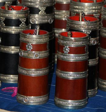 Traditional wine containers of Bhutan