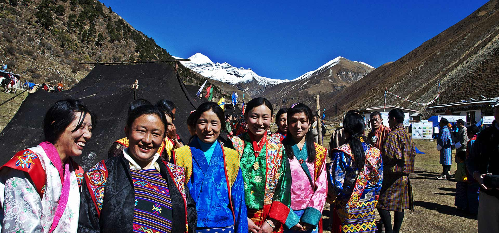 Local women of Jomolhari during the annual mountain festival at the base camp, Jangothang.