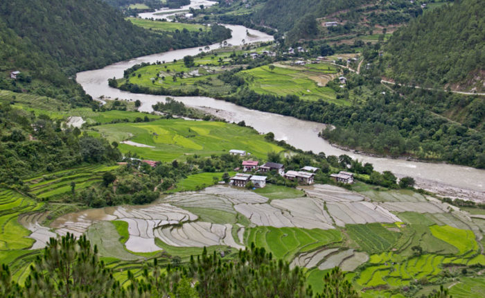 View of Punakha Valley in Bhutan as seen from Khamsum Yulley Namgyel Choeten. Visit Bhutan.