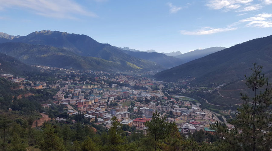 The capital of Bhutan, Thimphu at an elevation of 2,334m/7,655ft.