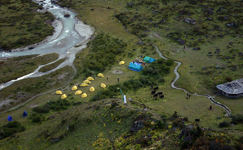 Jangothang Campsite at an elevation of 4,080m/13,385ft in Bhutan