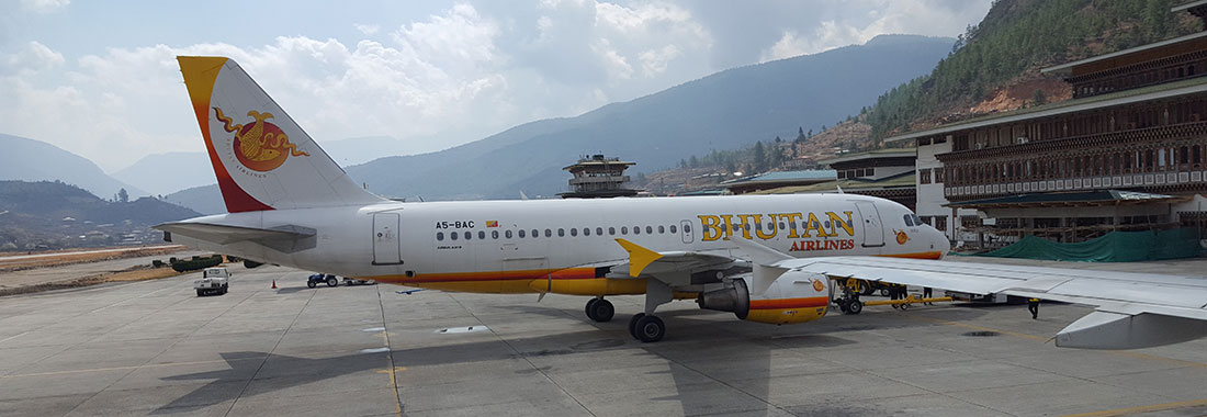 Bhutan Airlines at the only International Airport in Bhutan, Paro International Airport
