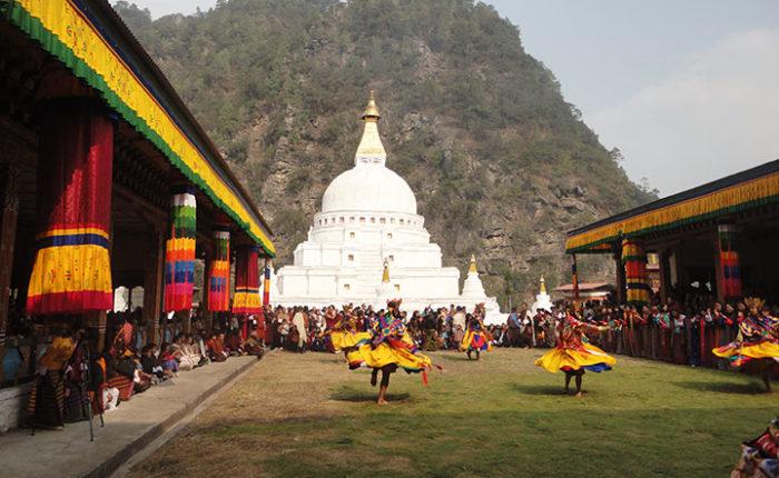 Festival at Choeten Kora in the district of Trashi Yangtse, Eastern Bhutan