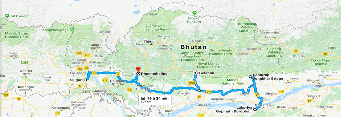 Ports of Entry in to Bhutan by road from India