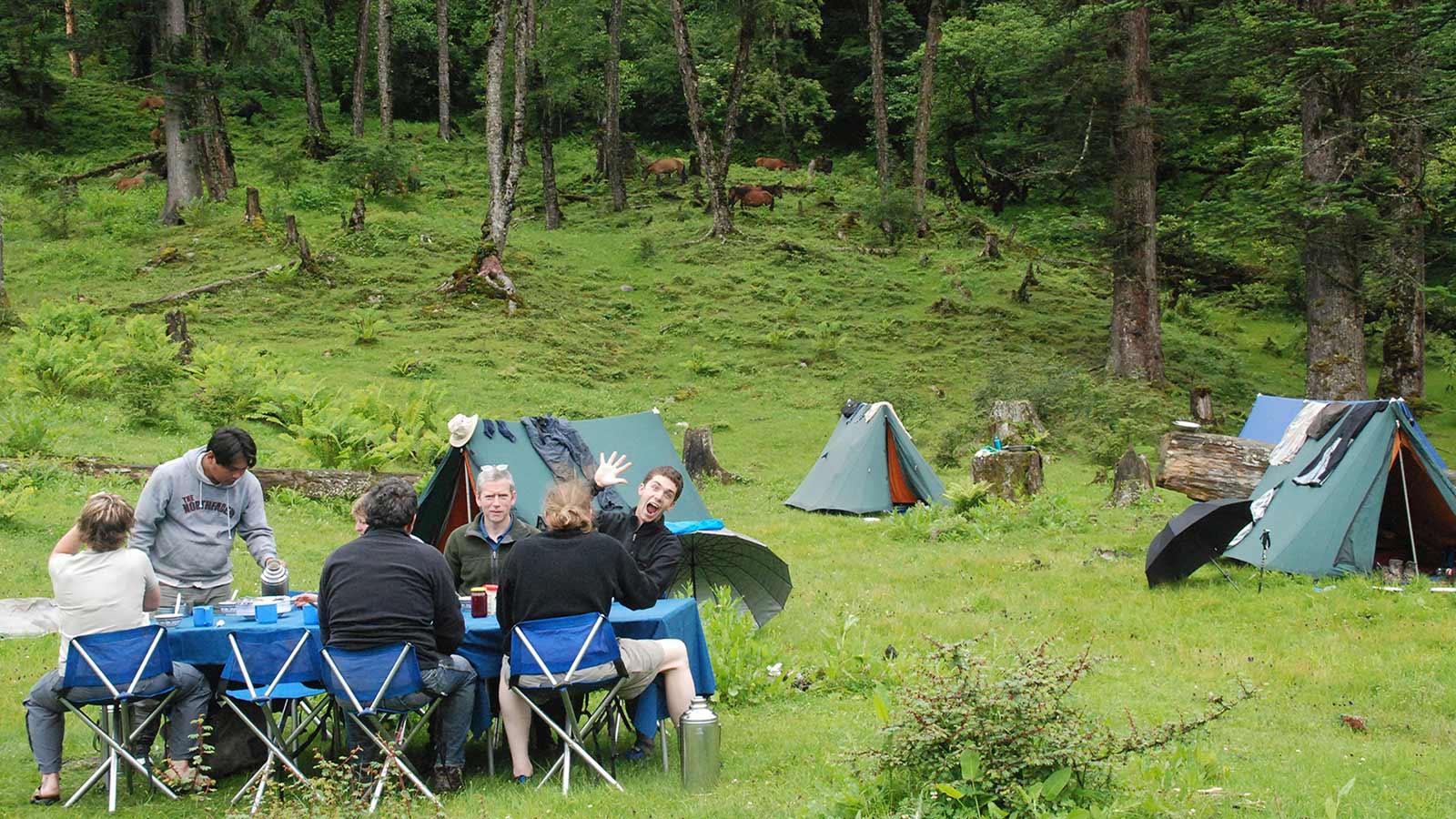 Outdoor camping in Bhutan