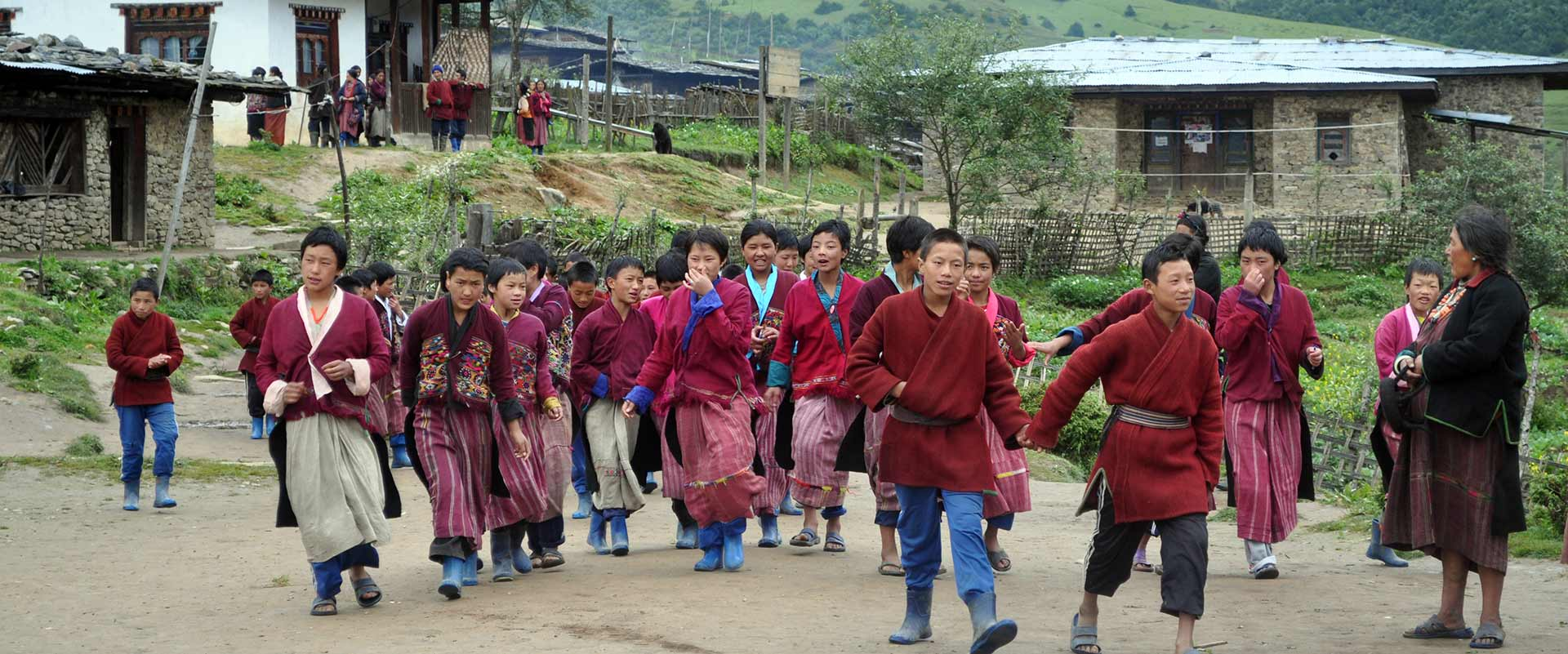 Students of remote Sakteng Village in eastern Bhutan