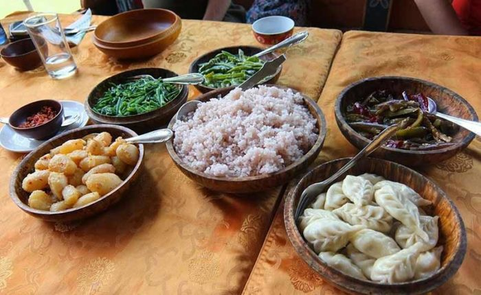 Home-cooked Bhutanese cuisine