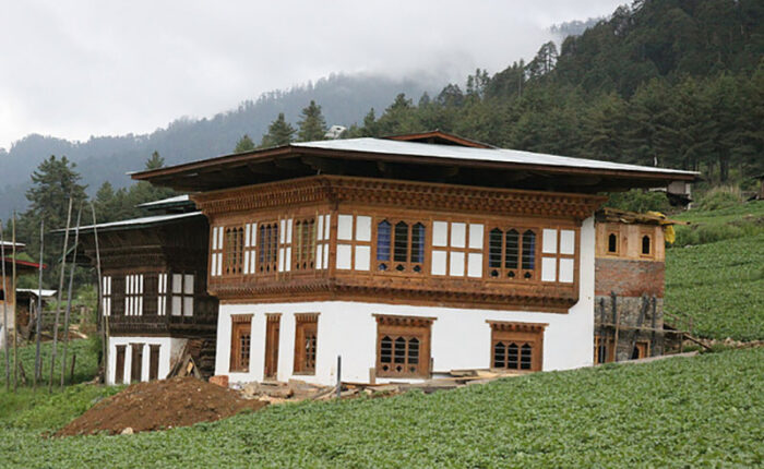 A typical Bhutanese Farmhouse in rural Bhutan