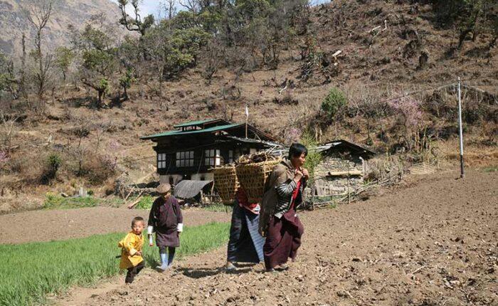 Farmers in rural village