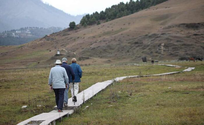 Hiking through Gangtey Nature Trail in Phobjikha valley