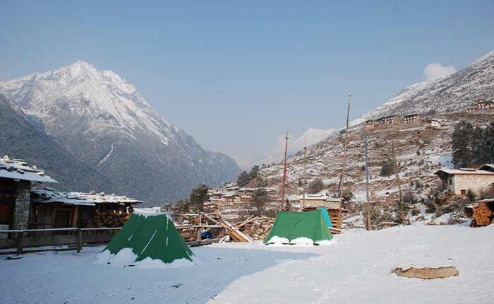 Laya Village in snow early December