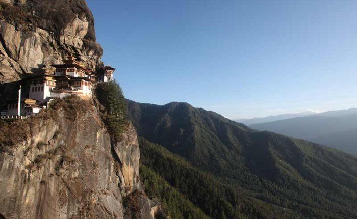 Paro Taktsang popularly known as Tiger's Nest perched on a rocky cliff 800m above the valley floor.